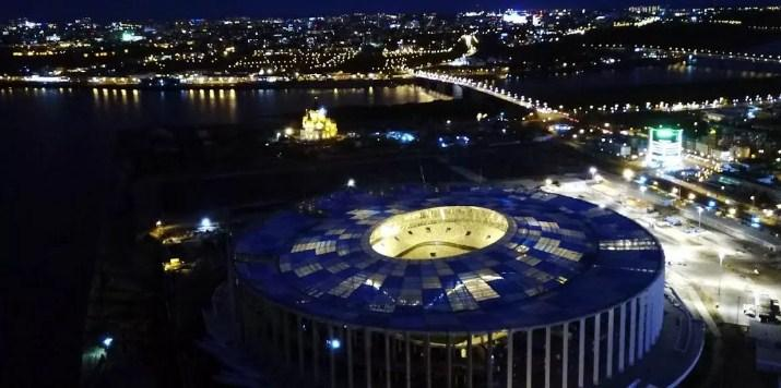 Ночной вид стадиона Нижний Новгород